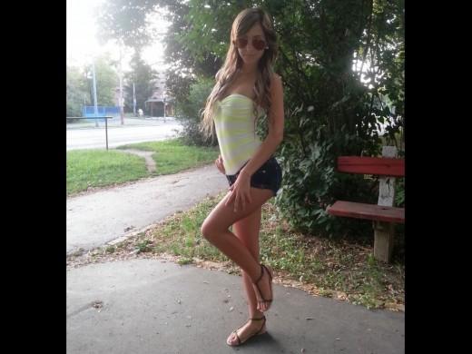 petite blonde teen camgirl LanaTheLovely in little denim shorts